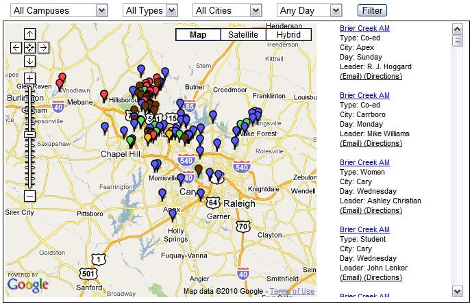custom google maps small group locator tool