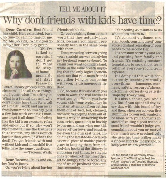 Ask Carolyn article about mommies